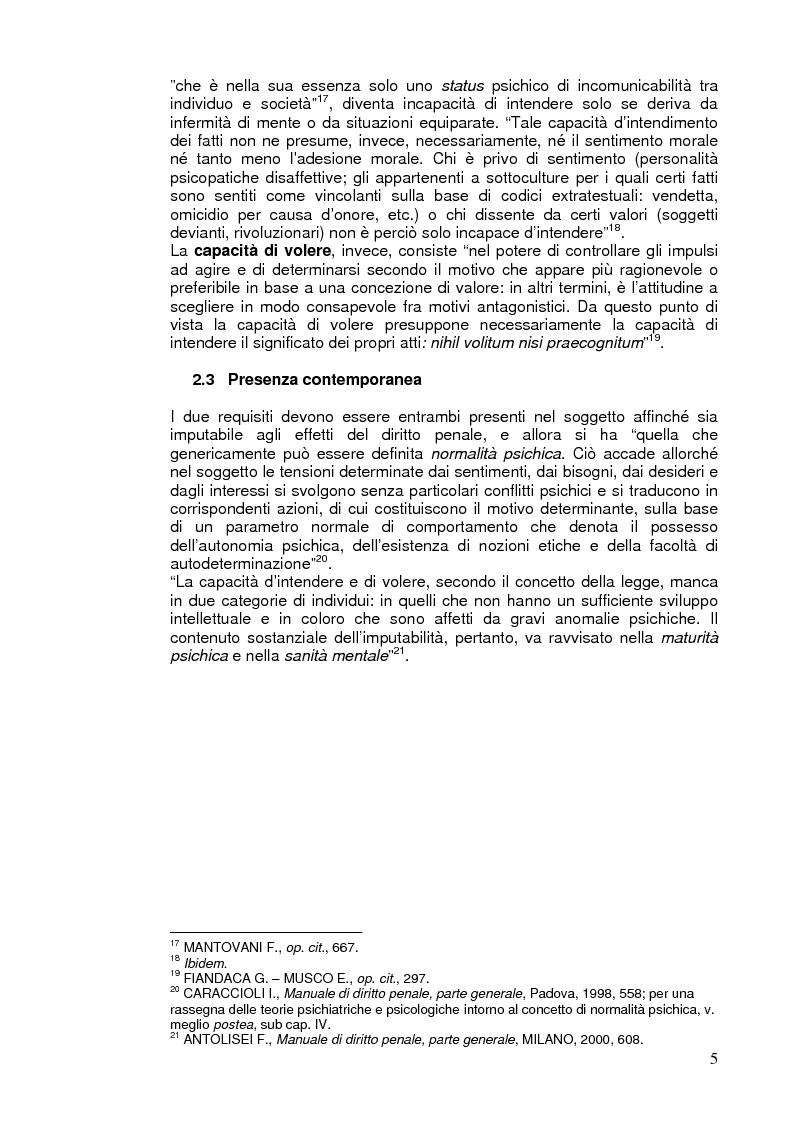 Anteprima della tesi: L'imputabilità e il vizio di mente nel sistema penale, Pagina 5