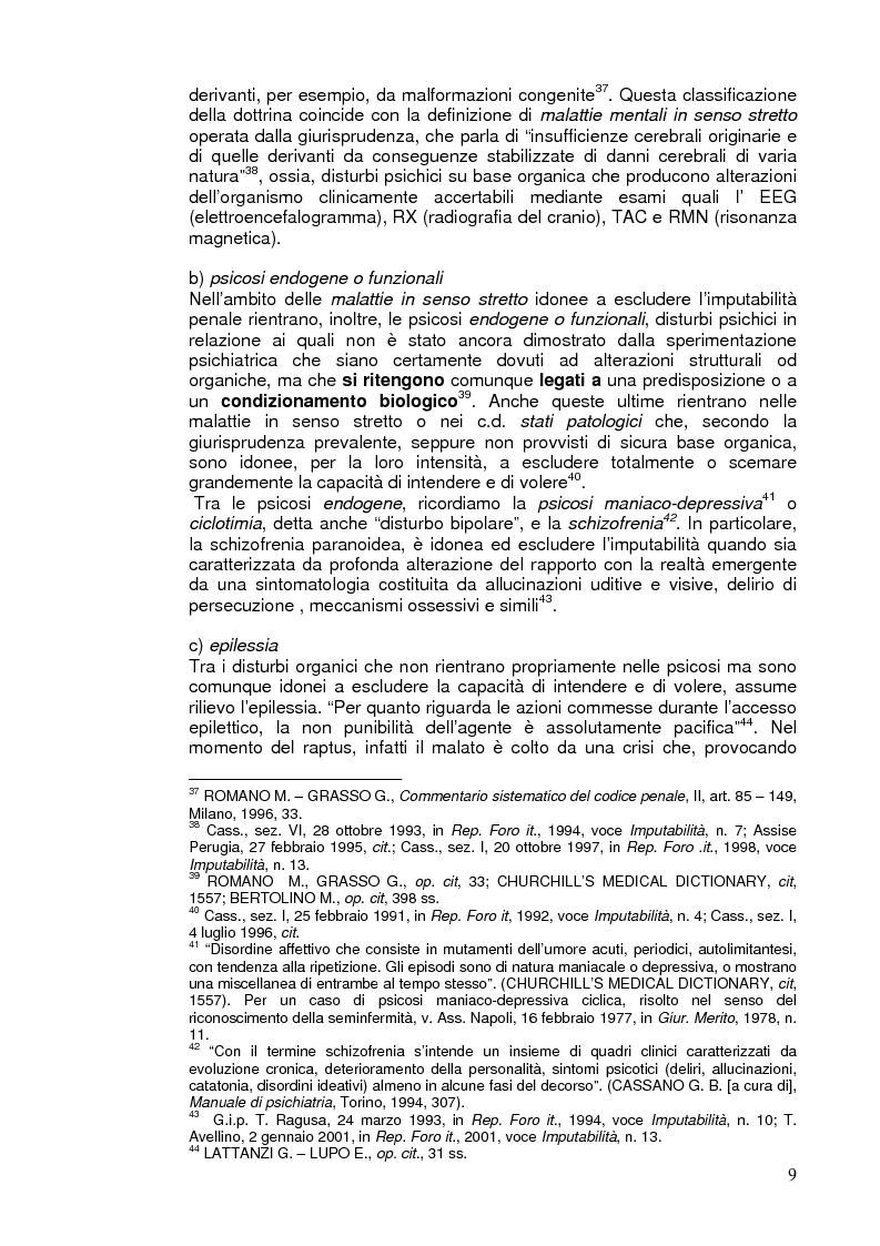 Anteprima della tesi: L'imputabilità e il vizio di mente nel sistema penale, Pagina 9