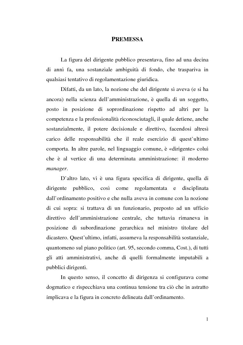 Anteprima della tesi: Dirigenza e spoils system, Pagina 1