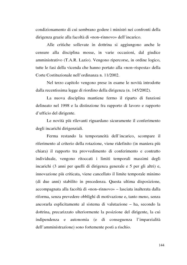 Anteprima della tesi: Dirigenza e spoils system, Pagina 8