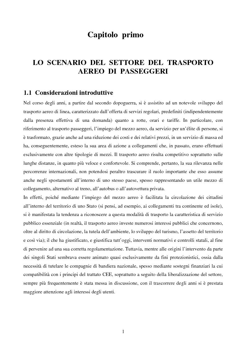 Anteprima della tesi: La competizione nel settore del trasporto aereo di passeggeri: strategie a confronto, Pagina 1