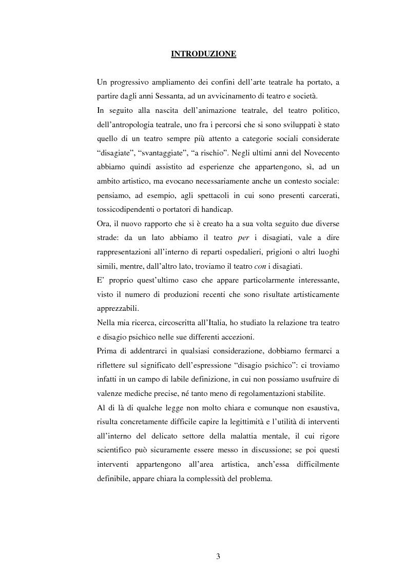Anteprima della tesi: Teatro e disagio psichico, Pagina 1