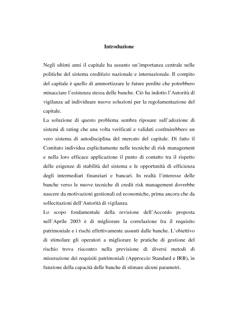 Anteprima della tesi: La gestione del rischio di credito nel Nuovo Accordo sul Capitale. L'impatto su alcuni archetipi finanziari, Pagina 1