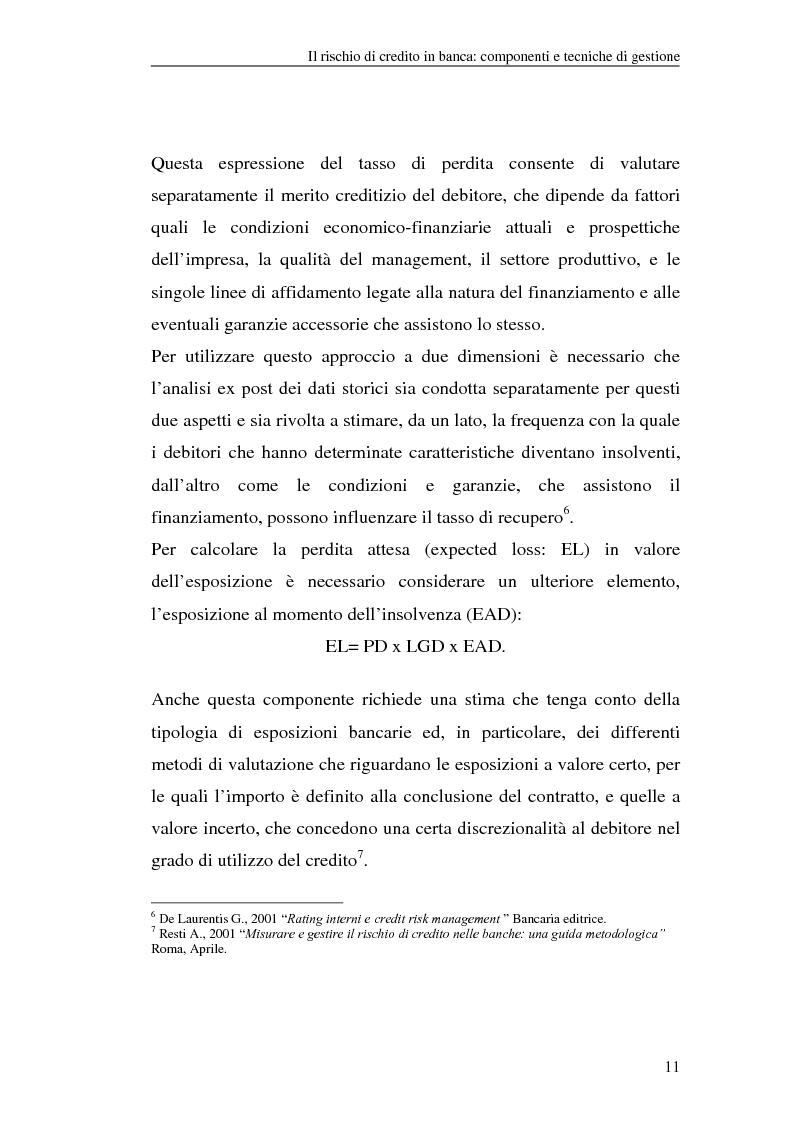 Anteprima della tesi: La gestione del rischio di credito nel Nuovo Accordo sul Capitale. L'impatto su alcuni archetipi finanziari, Pagina 11