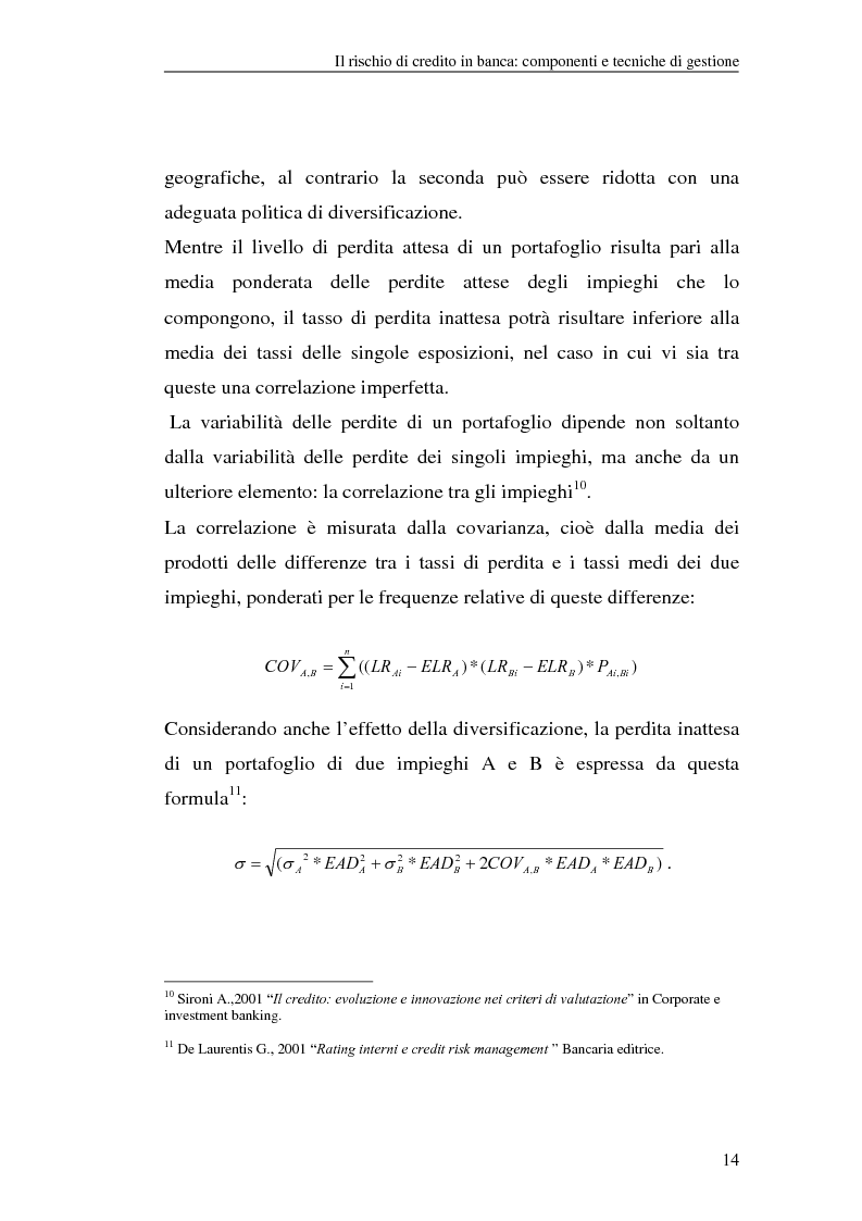 Anteprima della tesi: La gestione del rischio di credito nel Nuovo Accordo sul Capitale. L'impatto su alcuni archetipi finanziari, Pagina 14