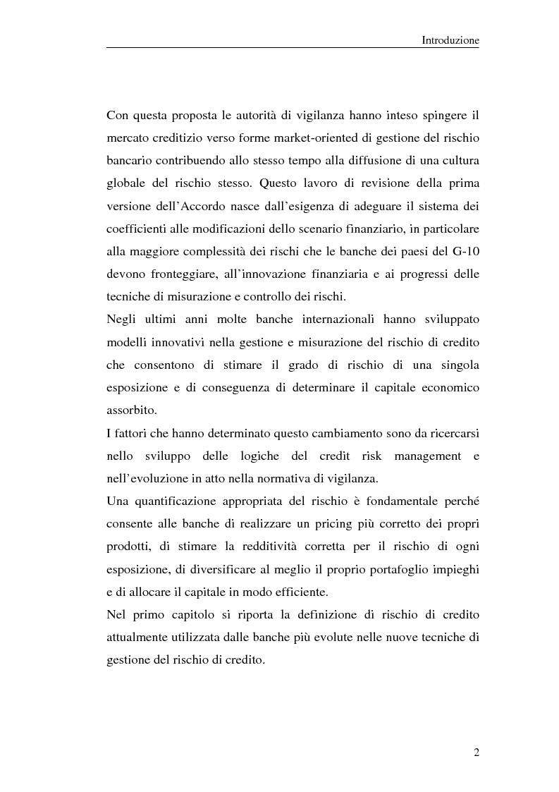 Anteprima della tesi: La gestione del rischio di credito nel Nuovo Accordo sul Capitale. L'impatto su alcuni archetipi finanziari, Pagina 2
