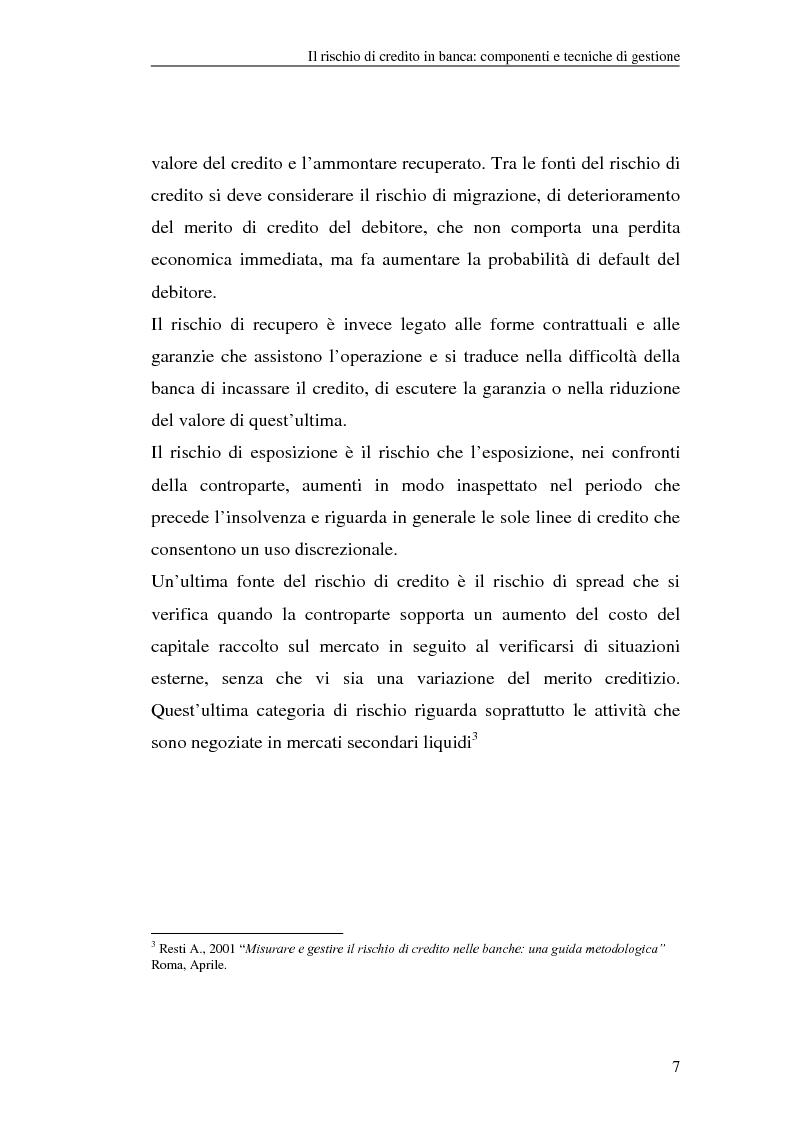 Anteprima della tesi: La gestione del rischio di credito nel Nuovo Accordo sul Capitale. L'impatto su alcuni archetipi finanziari, Pagina 7