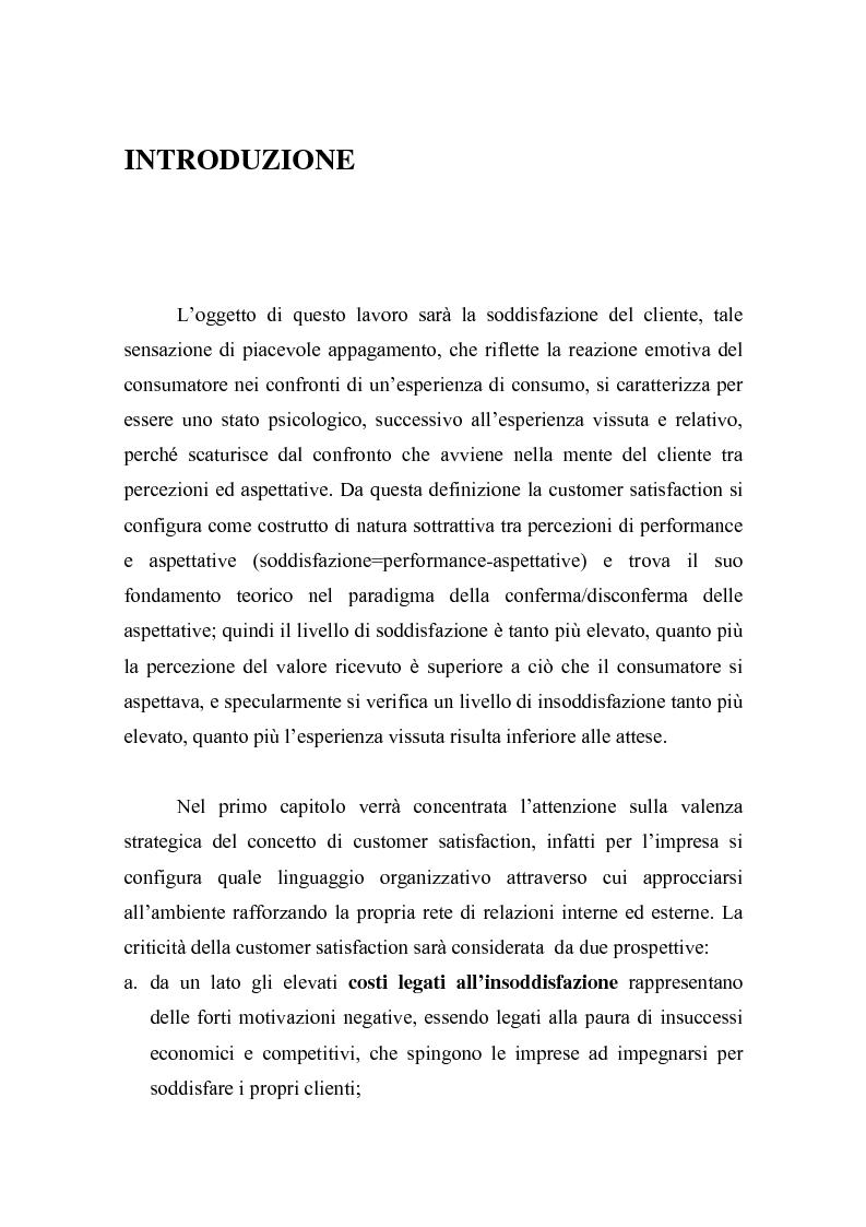Anteprima della tesi: La misurazione della soddisfazione del cliente (customer satisfaction): una verifica empirica nel settore delle carte prepagate ricaricabili, Pagina 1