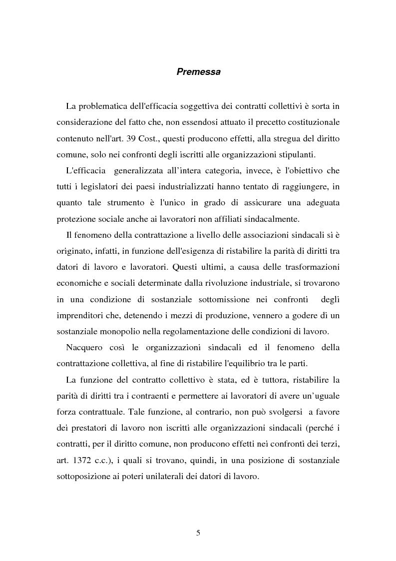 Anteprima della tesi: Il problema dell'efficacia soggettiva dei contratti collettivi, Pagina 1
