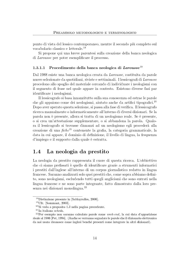 Anteprima della tesi: Anglicismi nel francese contemporaneo: tecniche di ricerca computazionale su un corpus giornalistico, Pagina 12
