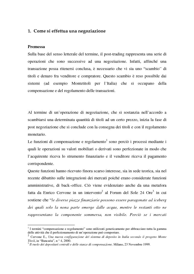 Anteprima della tesi: L'integrazione dei sistemi di post-trading in Europa: un'analisi economica, Pagina 7