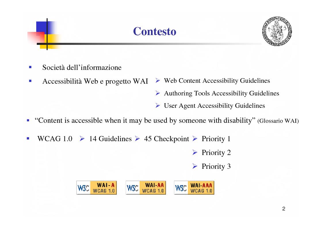 Anteprima della tesi: Metodologie e tecnologie per la verifica di accessibilità ai disabili di sistemi web, Pagina 2