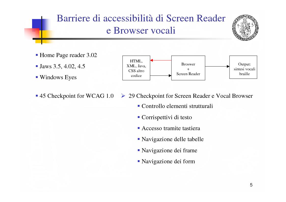 Anteprima della tesi: Metodologie e tecnologie per la verifica di accessibilità ai disabili di sistemi web, Pagina 5