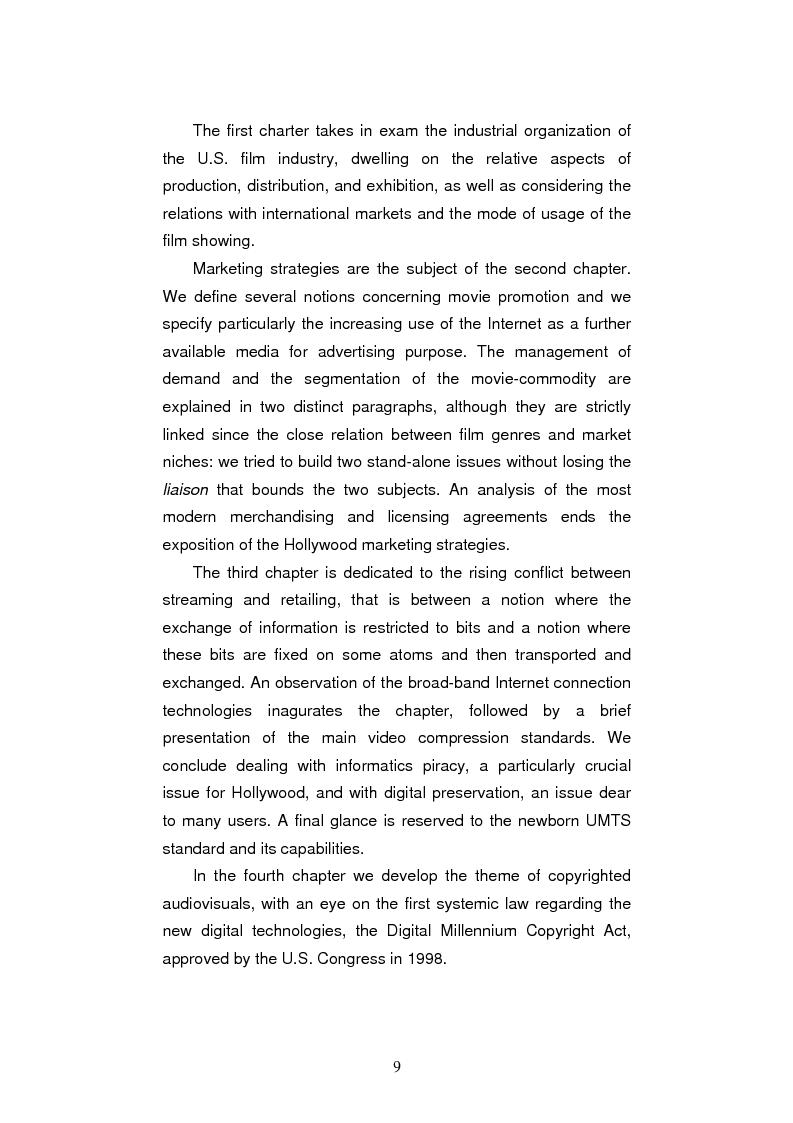 Anteprima della tesi: L'industria cinematografica di Hollywood nell'era di Internet. La strategia della Warner Bros. per il lancio di The Matrix Reloaded, Pagina 13