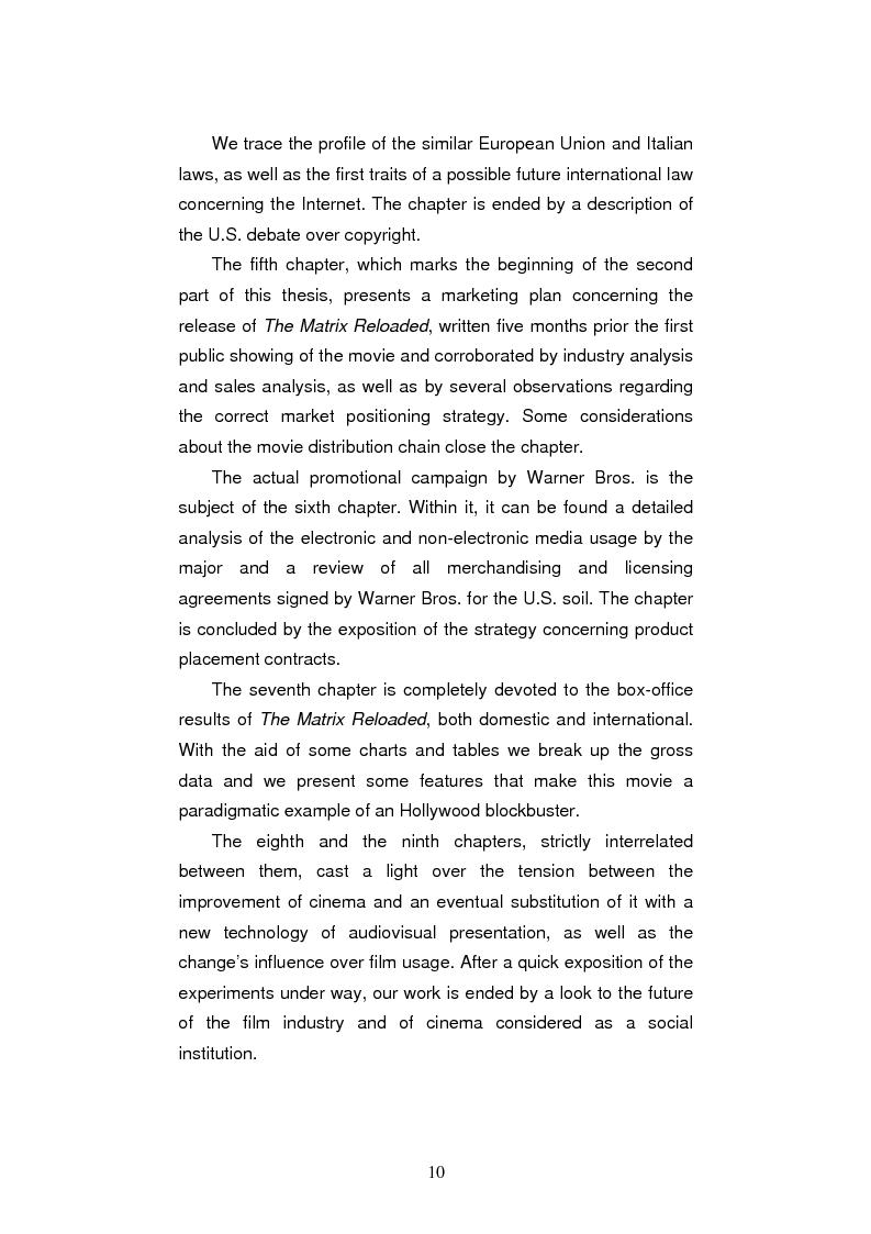 Anteprima della tesi: L'industria cinematografica di Hollywood nell'era di Internet. La strategia della Warner Bros. per il lancio di The Matrix Reloaded, Pagina 14