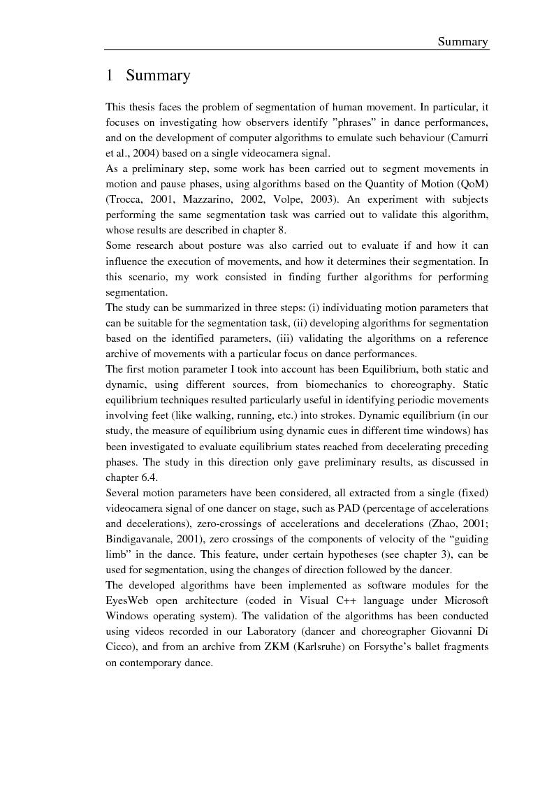 Anteprima della tesi: Un modello e un sistema per l'analisi e la segmentazione del movimento umano. Uno studio sulla danza, Pagina 2