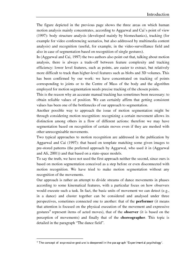 Anteprima della tesi: Un modello e un sistema per l'analisi e la segmentazione del movimento umano. Uno studio sulla danza, Pagina 6