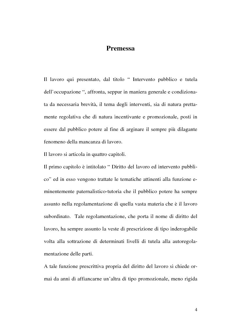 Anteprima della tesi: Intervento pubblico e tutela dell'occupazione, Pagina 1