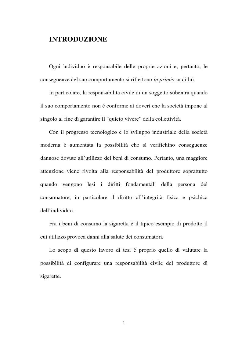 Anteprima della tesi: La responsabilità del produttore di sigarette, Pagina 1