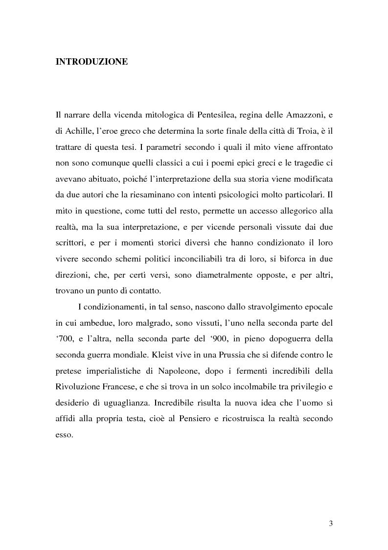 Anteprima della tesi: Pentesilea in Heinrich von Kleist e in Christa Wolf, Pagina 1