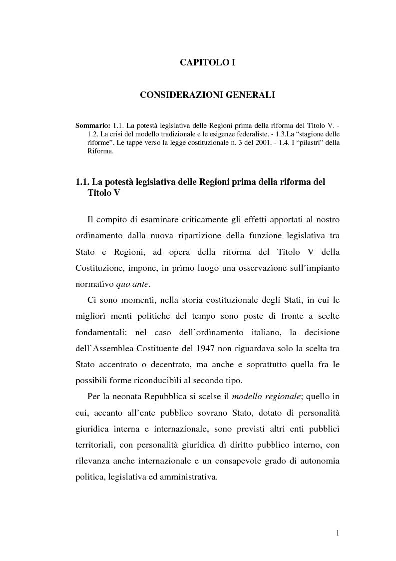 Anteprima della tesi: Il riparto della funzione legislativa fra lo Stato e le Regioni ordinarie, Pagina 1