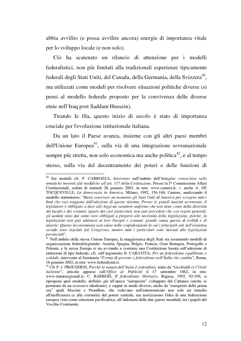 Anteprima della tesi: Il riparto della funzione legislativa fra lo Stato e le Regioni ordinarie, Pagina 12