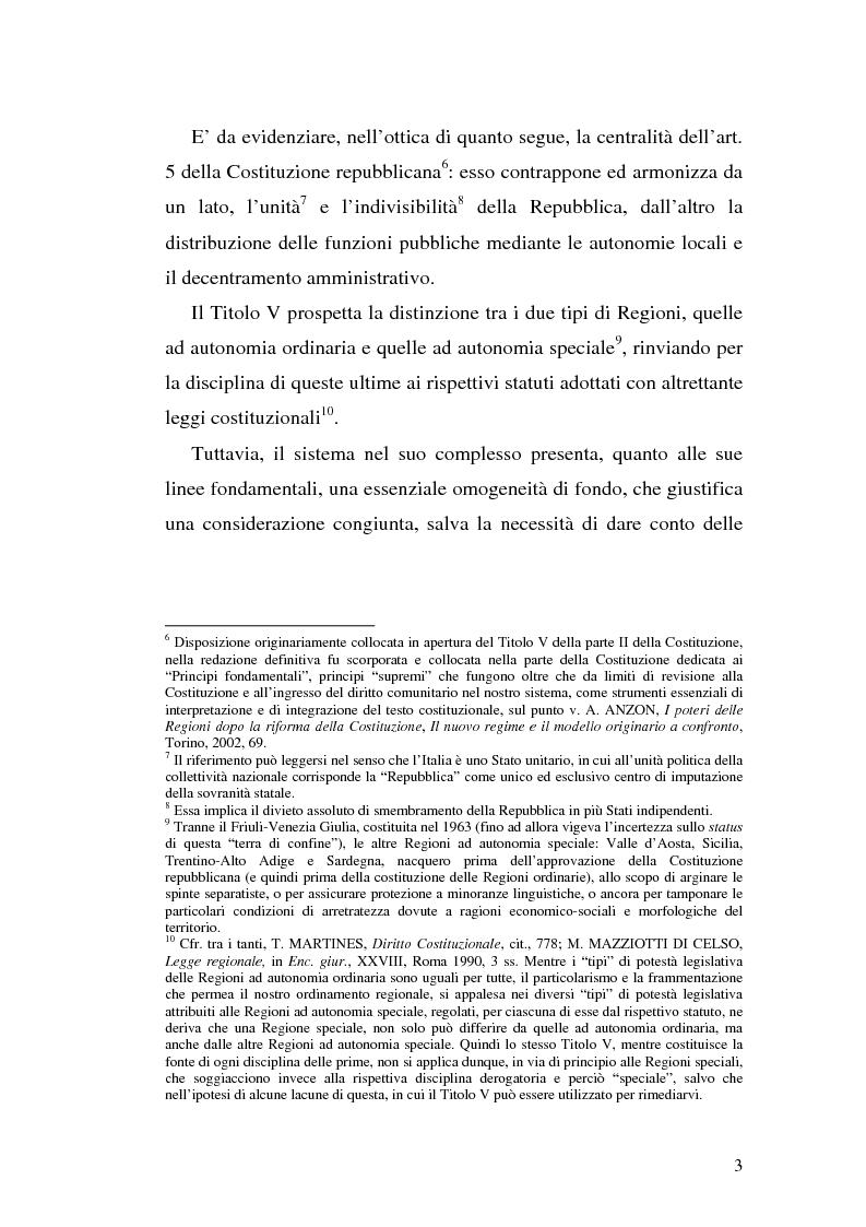 Anteprima della tesi: Il riparto della funzione legislativa fra lo Stato e le Regioni ordinarie, Pagina 3