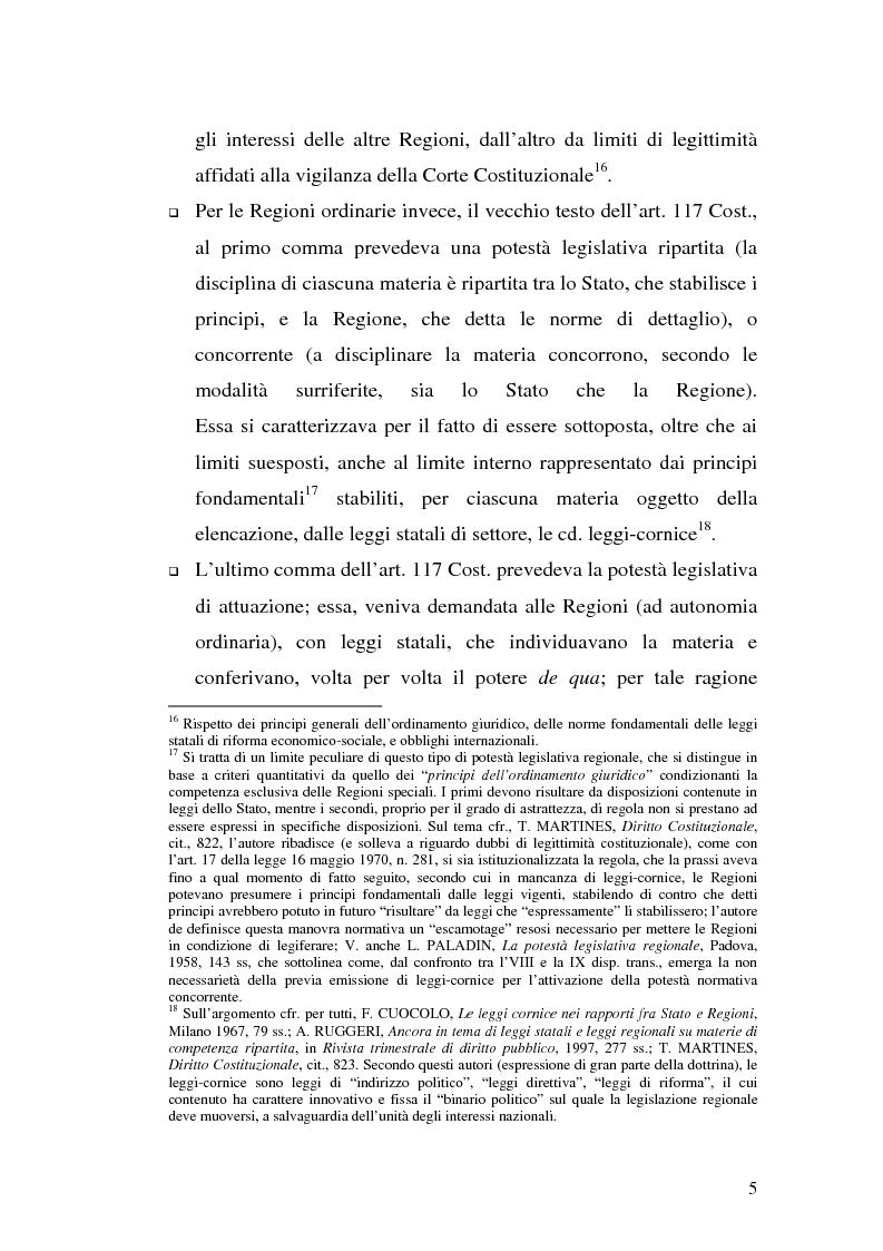 Anteprima della tesi: Il riparto della funzione legislativa fra lo Stato e le Regioni ordinarie, Pagina 5