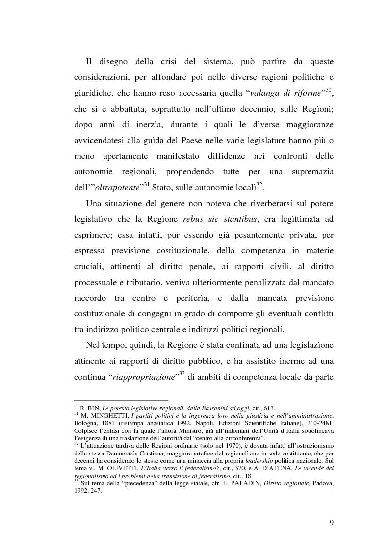Anteprima della tesi: Il riparto della funzione legislativa fra lo Stato e le Regioni ordinarie, Pagina 9