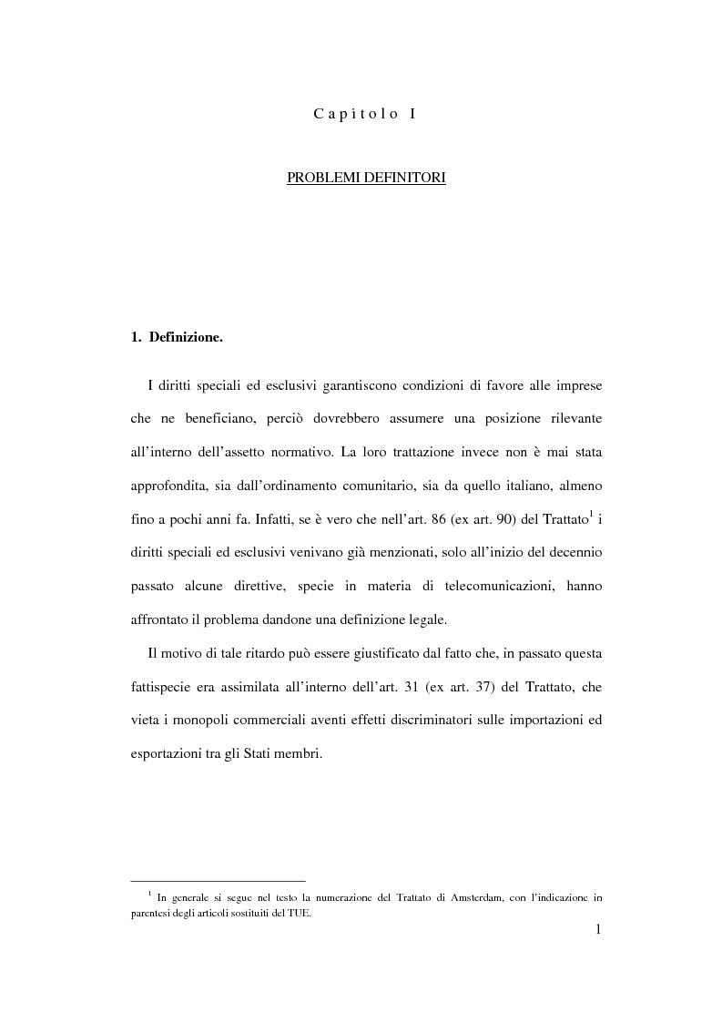 Anteprima della tesi: I diritti speciali ed esclusivi nei servizi di interesse generale tra ordinamento comunitario ed evoluzione normativa interna, Pagina 1