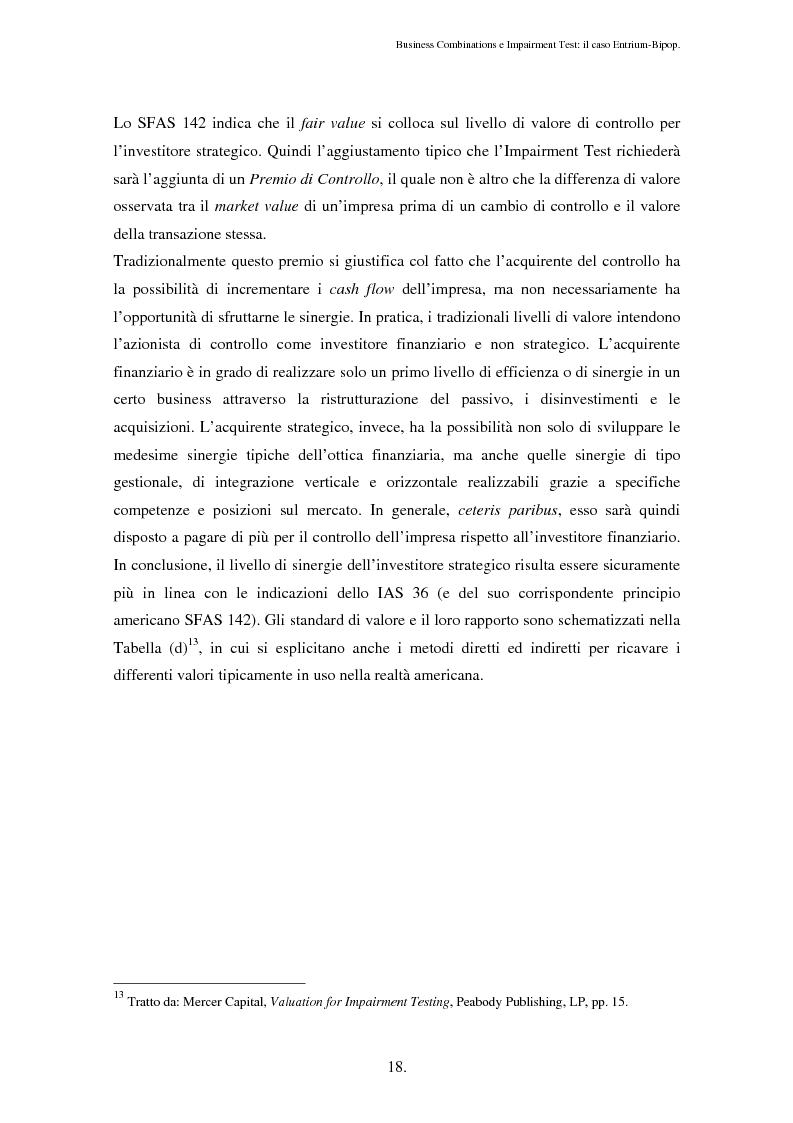 Anteprima della tesi: Business Combinations e Impairment Test: il caso Entrium - Bipop, Pagina 14