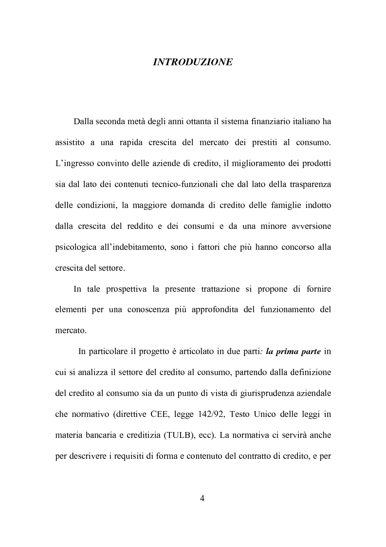 Anteprima della tesi: Credito al consumo: profili economici, regolamentazione e diversificazione del settore, Pagina 1