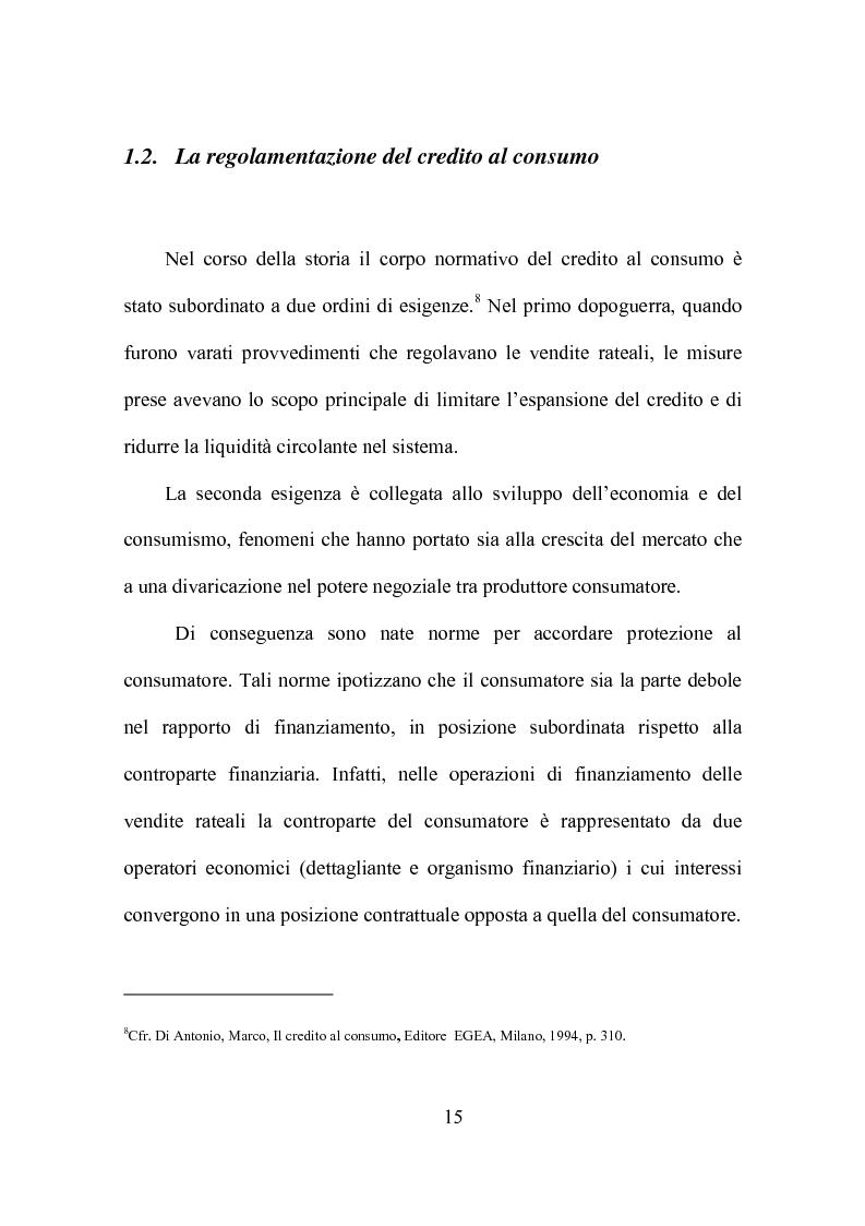 Anteprima della tesi: Credito al consumo: profili economici, regolamentazione e diversificazione del settore, Pagina 12