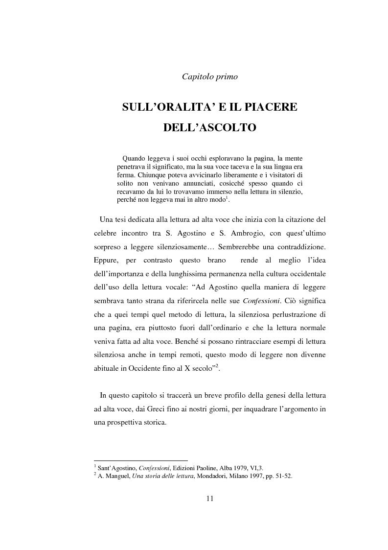 Anteprima della tesi: Quasi come Gian dei Brughi. Valore pegagogico e funzione della lettura ad alta voce nella scuola elementare, Pagina 11