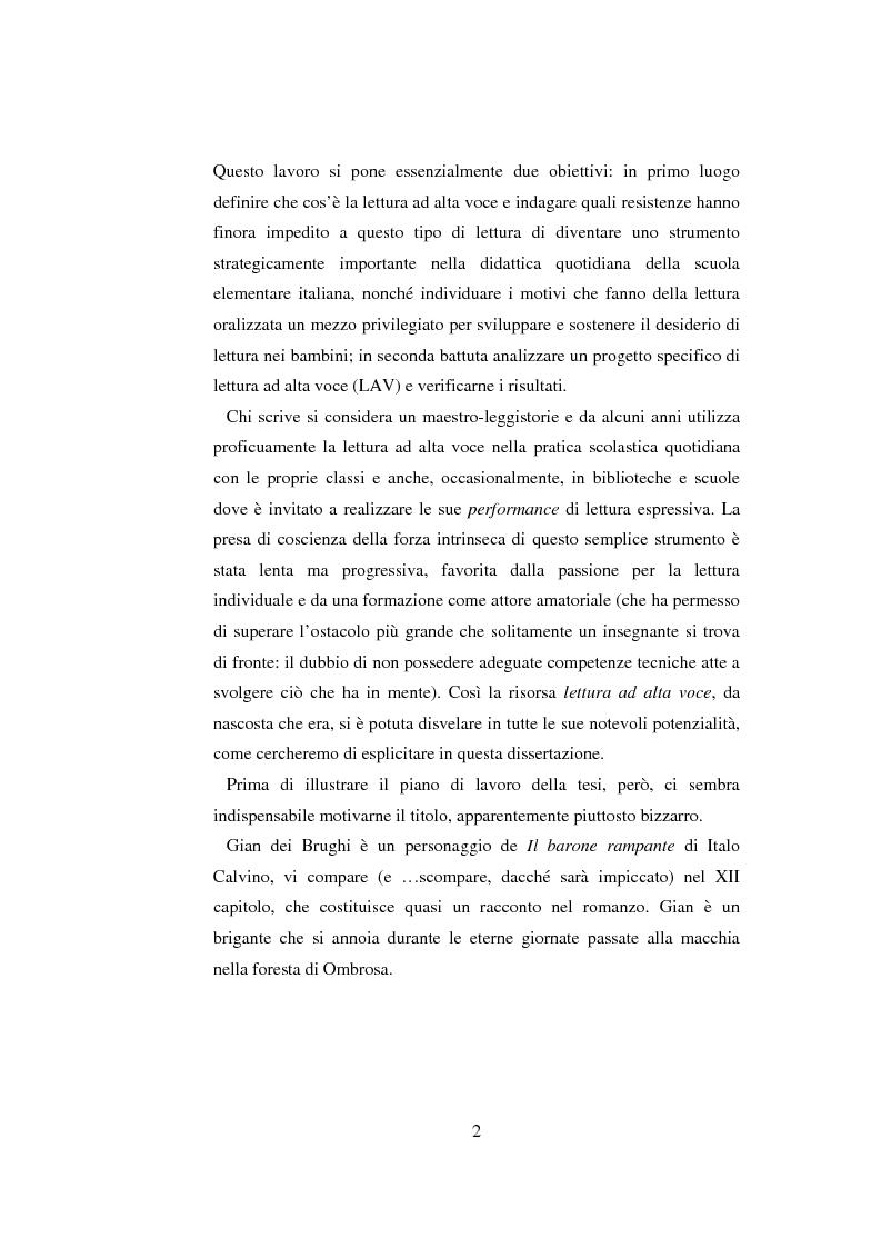 Anteprima della tesi: Quasi come Gian dei Brughi. Valore pegagogico e funzione della lettura ad alta voce nella scuola elementare, Pagina 2
