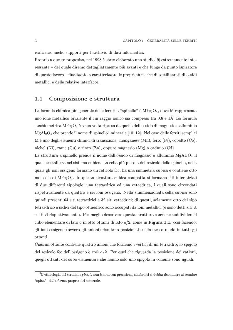 Anteprima della tesi: Proprietà magnetiche e strutturali di nanoferriti NiFe2 O4, Pagina 4