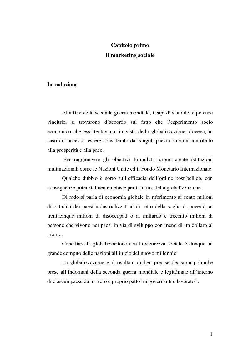 Anteprima della tesi: Marketing Sociale e sostenibilità sociale Nei Paesi del Terzo Mondo, Pagina 1