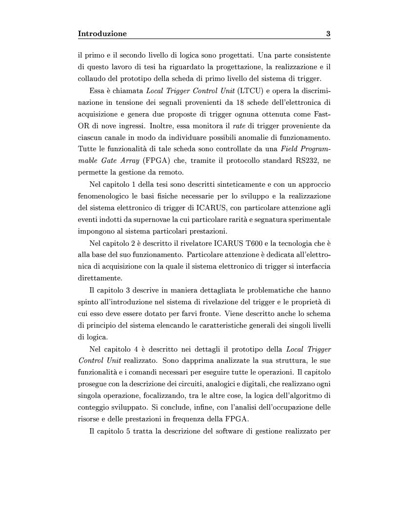 Anteprima della tesi: Disegno del sistema generale di trigger dell'esperimento ICARUS, progettazione e realizzazione della scheda di primo livello, Pagina 3