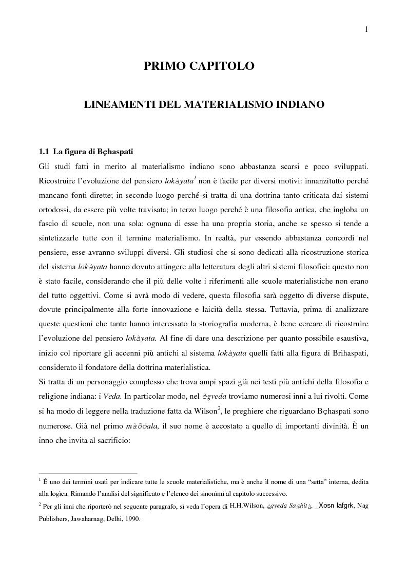Anteprima della tesi: Il sistema LOKAYATA: analisi delle principali scuole materialistiche indiane, Pagina 1