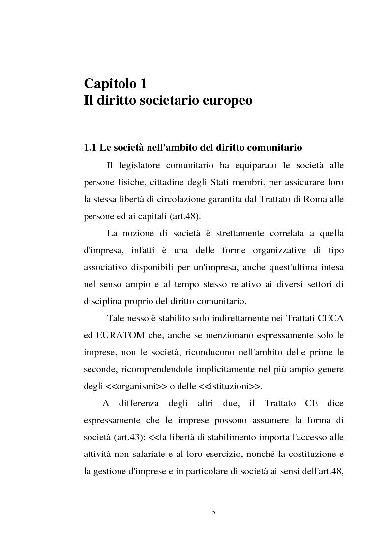 Anteprima della tesi: La disciplina comunitaria sulla '' società per azioni '' europea, Pagina 3