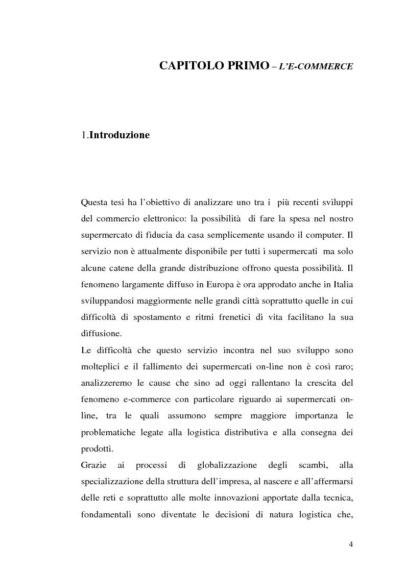 Anteprima della tesi: Modelli per i supermercati on-line: un confronto fra casi italiani ed esteri, Pagina 1