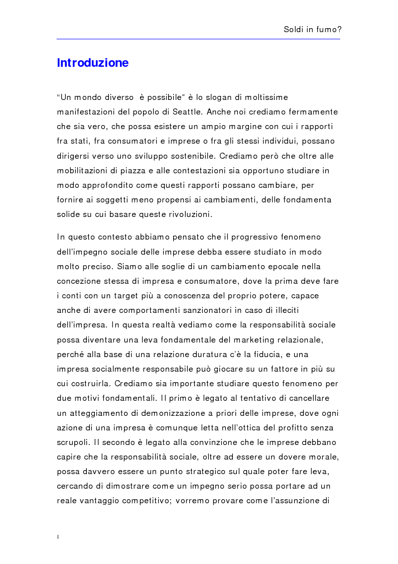 Anteprima della tesi: Soldi in fumo? Imprese e impegno sociale: l'efficacia della comunicazione del cause related marketing relativa ad alcuni casi italiani, Pagina 1