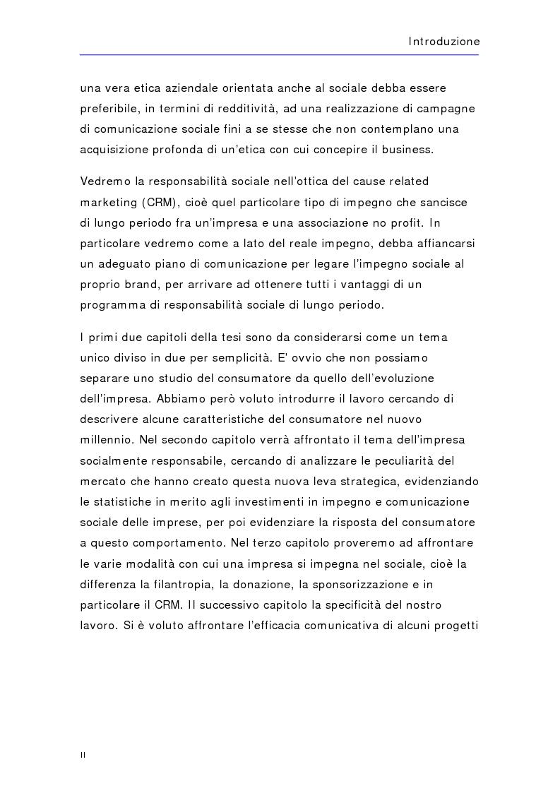Anteprima della tesi: Soldi in fumo? Imprese e impegno sociale: l'efficacia della comunicazione del cause related marketing relativa ad alcuni casi italiani, Pagina 2