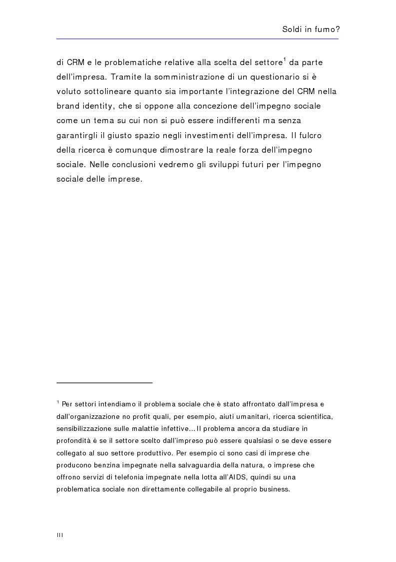 Anteprima della tesi: Soldi in fumo? Imprese e impegno sociale: l'efficacia della comunicazione del cause related marketing relativa ad alcuni casi italiani, Pagina 3