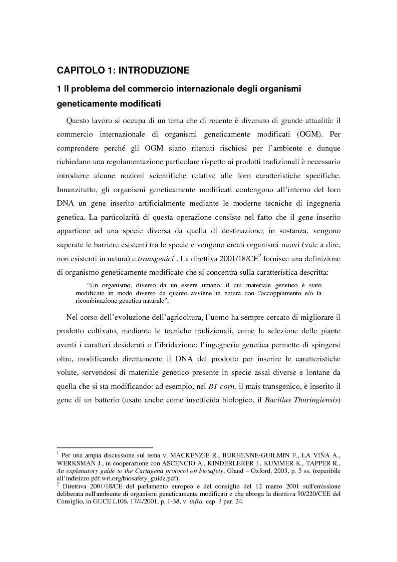 Anteprima della tesi: Movimenti transfrontalieri di organismi geneticamente modificati: protocollo di Cartagena e norme dell'OMC, Pagina 1