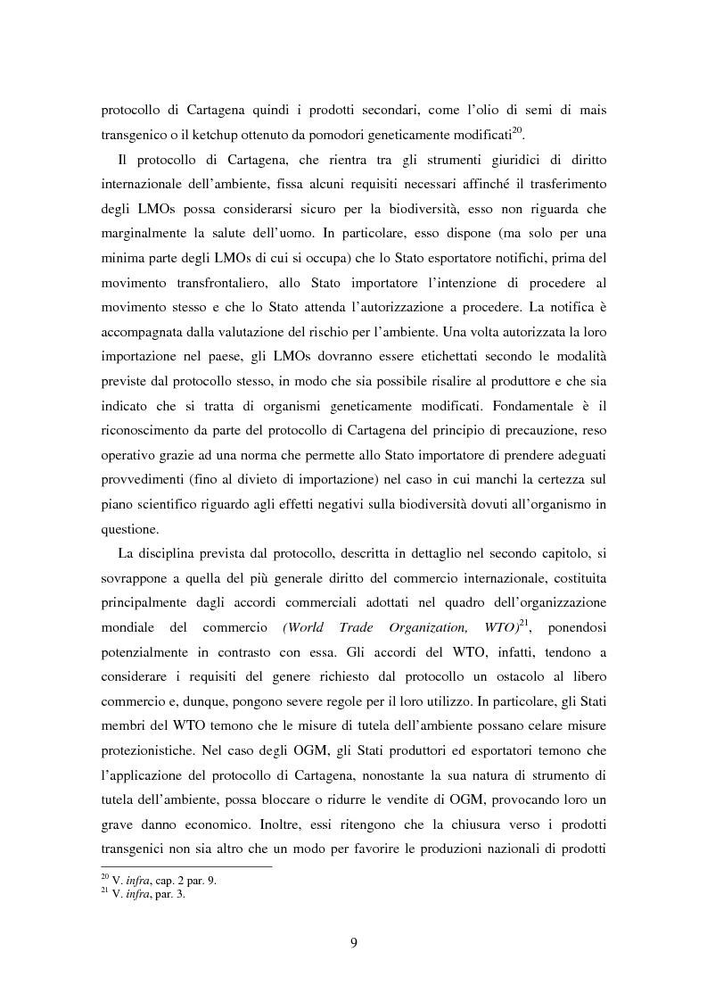 Anteprima della tesi: Movimenti transfrontalieri di organismi geneticamente modificati: protocollo di Cartagena e norme dell'OMC, Pagina 5