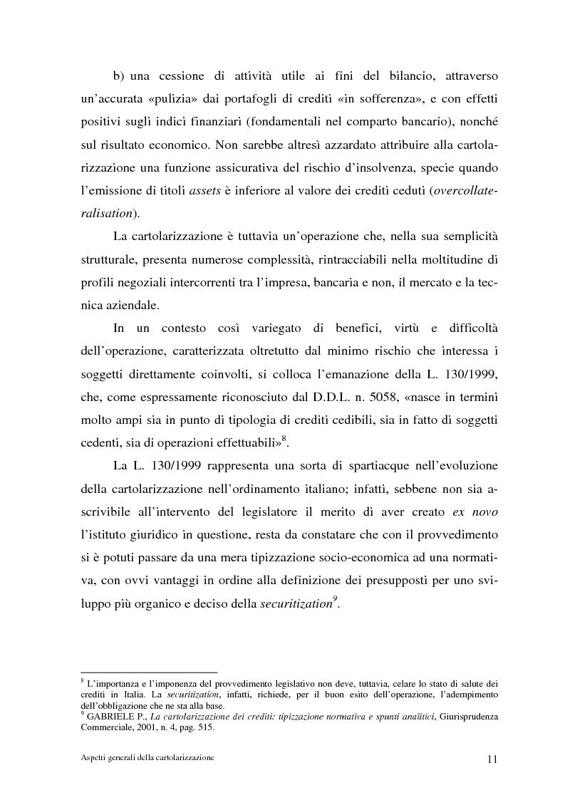 Anteprima della tesi: La cartolarizzazione dei crediti in Italia: il caso della BCC di Castellana Grotte, Pagina 11