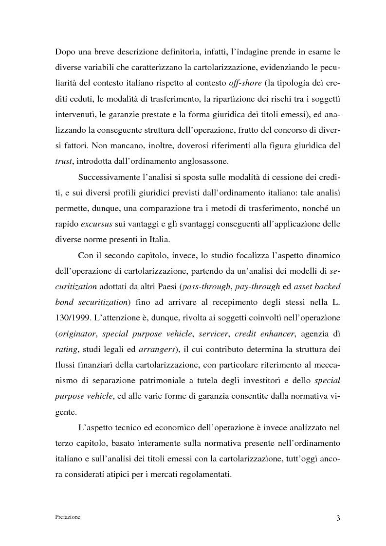 Anteprima della tesi: La cartolarizzazione dei crediti in Italia: il caso della BCC di Castellana Grotte, Pagina 3