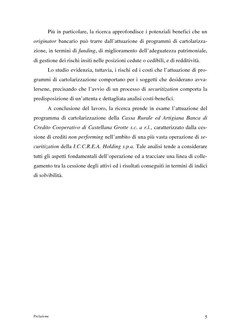 Anteprima della tesi: La cartolarizzazione dei crediti in Italia: il caso della BCC di Castellana Grotte, Pagina 5