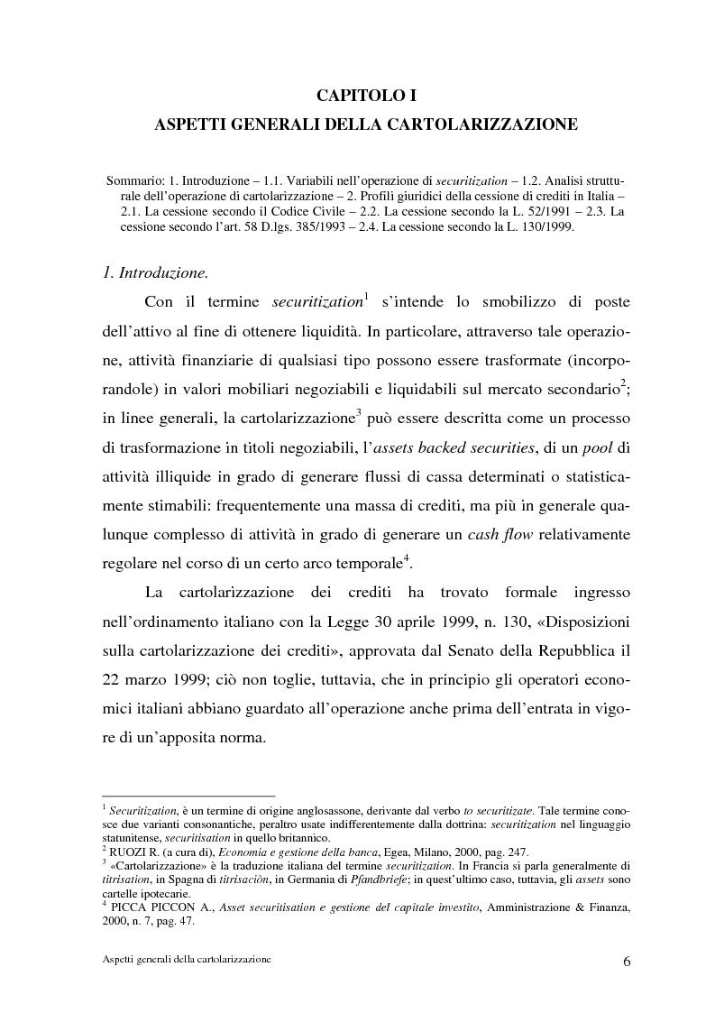 Anteprima della tesi: La cartolarizzazione dei crediti in Italia: il caso della BCC di Castellana Grotte, Pagina 6